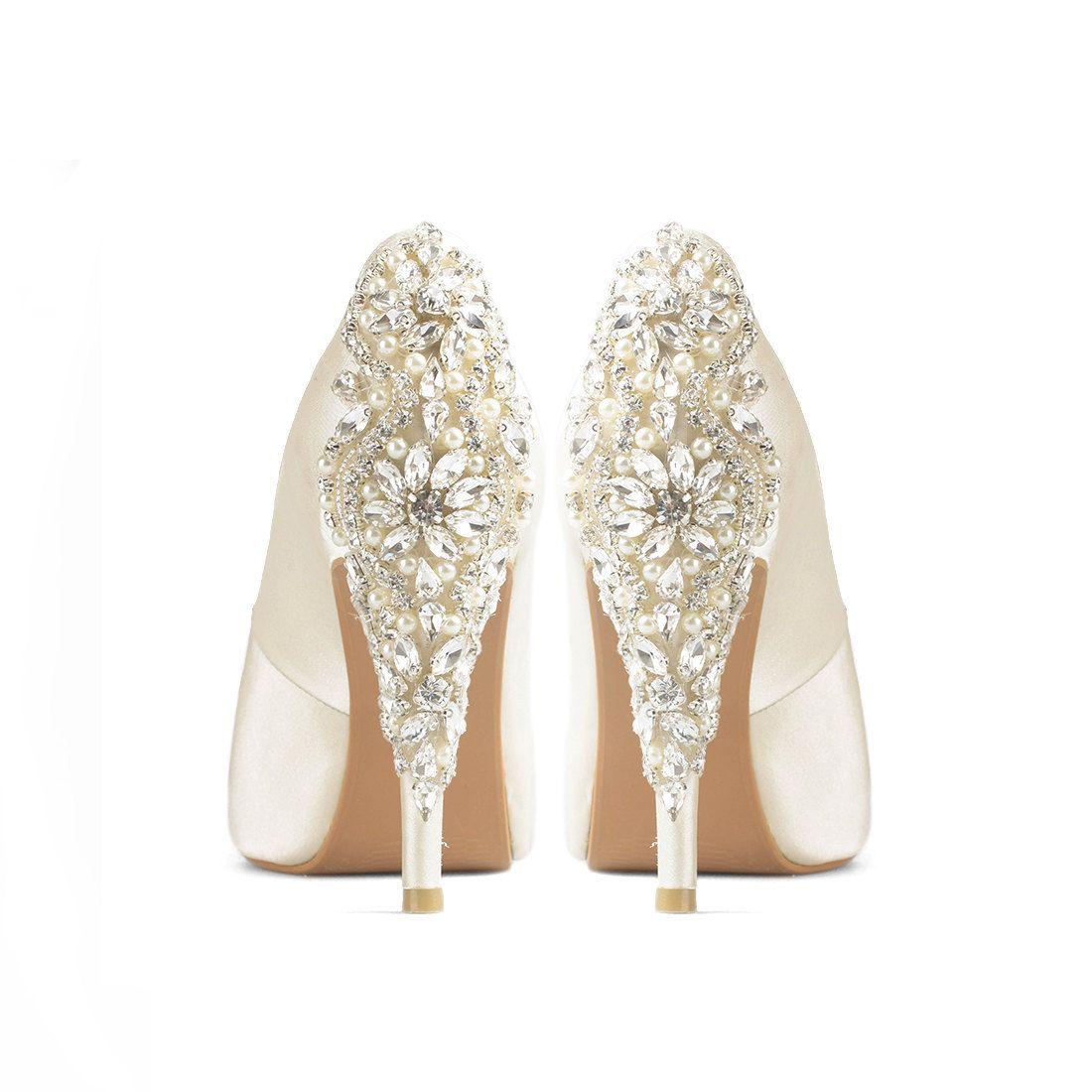Precious Glitter Ivory Satin Wedding Shoes Ivory Satin Bridal Heels Ivory Glitter Wedding Shoes Glitter Wedding Shoes Ivory Wedding Shoes Satin Wedding Shoes