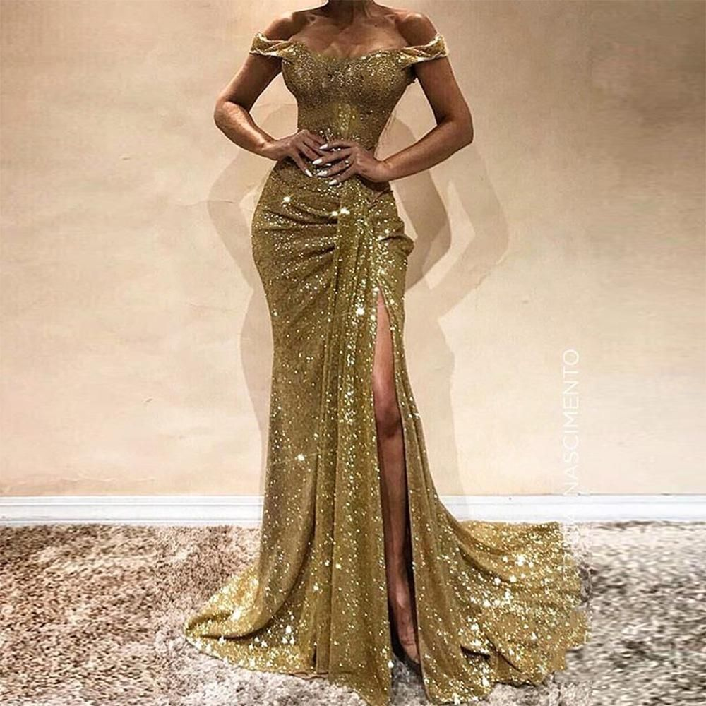 Sexy Sequin Off Shoulder Paillette Slim Evening Dress in