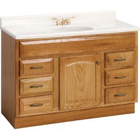 Oak Traditional Bathroom Vanity With Granite Top And Moen Fixture In