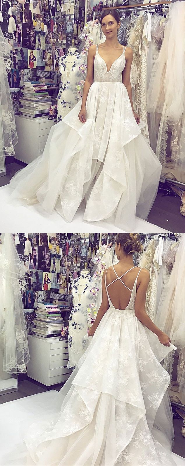 Aline spaghetti straps backless long lace wedding dress in