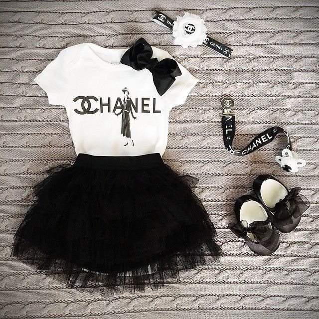 Chanel headband and binky black and white and chanel t shirt or onesie chanel baby clothes