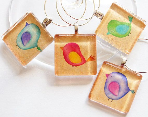 Bird Wine Glass Charms by KellysMagnets, $15.00