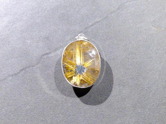 Golden Rutilated Quartz irregular egg oval 925 sterling silver pendant P0127