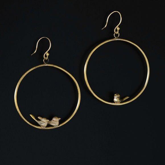 Handmade non identical brass hoop earrings Brass hoop