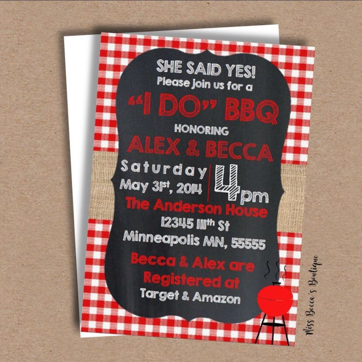Couple Shower Invitation Bbq Diy Couple Shower Couples