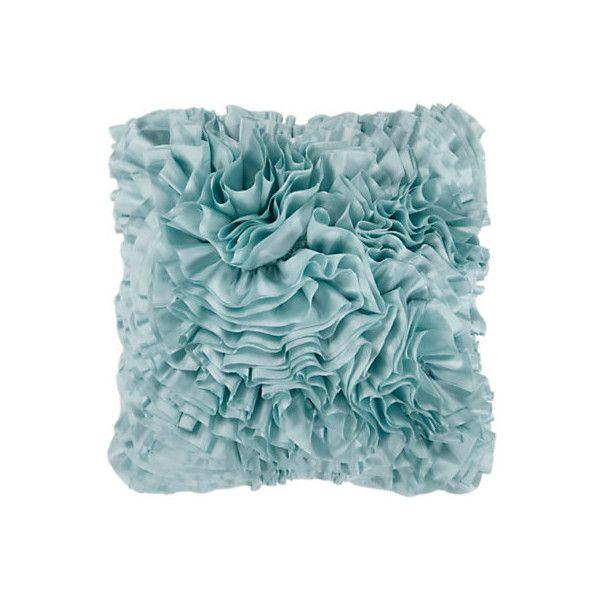 Frills Light Blue Pillow (275 SEK) ❤ liked on Polyvore featuring home, home decor, throw pillows, ruffle throw pillow, light blue home decor, light blue throw pillows, light blue accent pillows and baby blue throw pillows