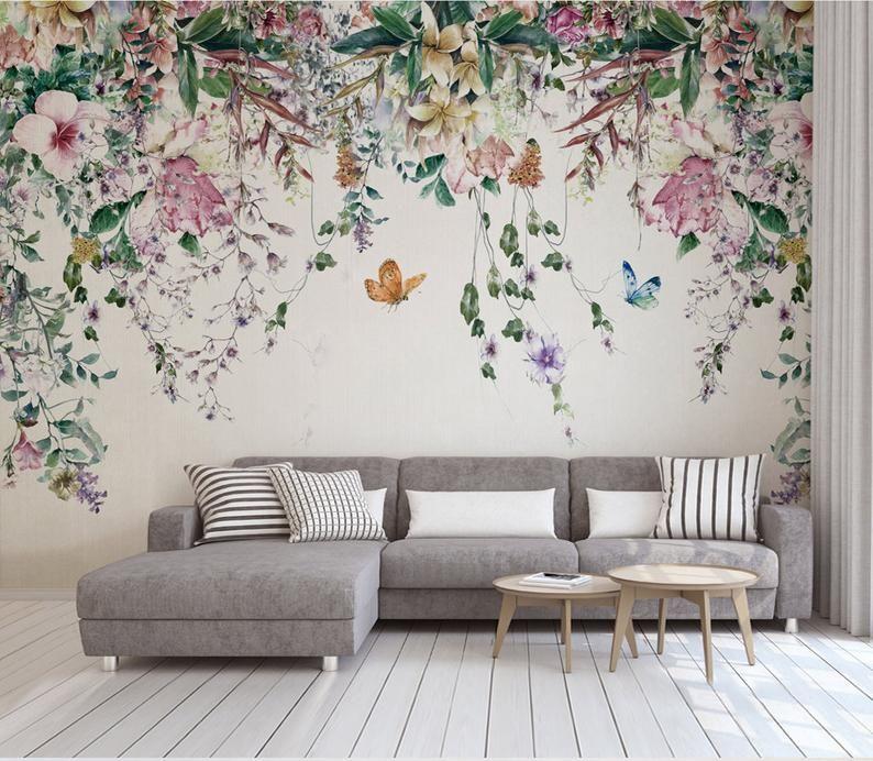 Tapete Nordic Moderne Frische Aquarell Blume Hintergrund