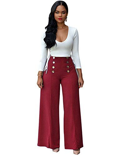 9a53cd4374e Women 2 Pieces Set Long Sleeve Bandage Crop Top Wide Leg Pants Jumpsuit  Romper Red XL   You can find more details by visiting the image link.