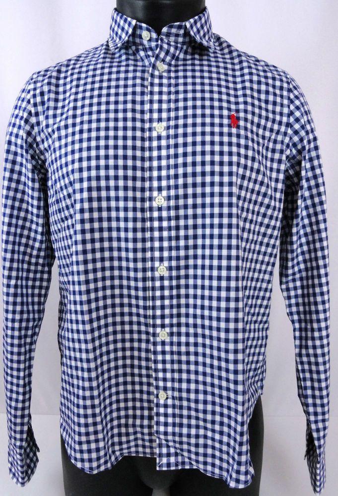 NWT Polo Ralph Lauren Mens L Gingham Shirt Blue/White Plaid Poplin LS  Button Up