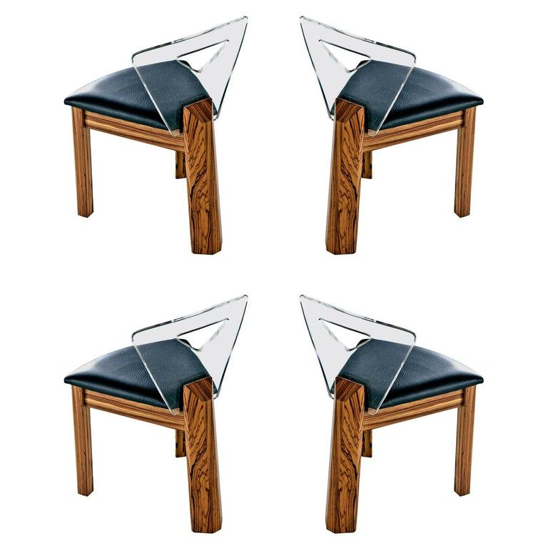 Lucite Back Zebra Wood Dining Chairs Vintage Modern With New
