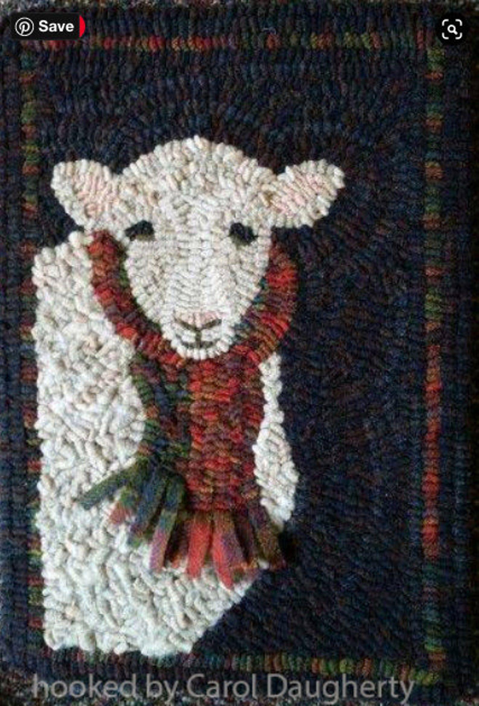 Scrappy Sheep II Primitive Hook or Rug Punch Pattern
