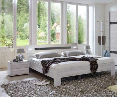 Bett 180 x 200 cm mit Nako Set Weisseiche/ hochglanz grau Jetzt - schlafzimmer set 180x200