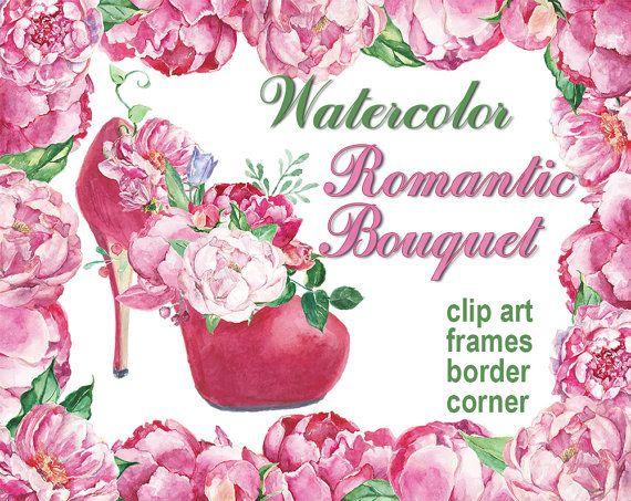 Digital 12 Watercolor Romantic Bouquet Clip Art, Frames