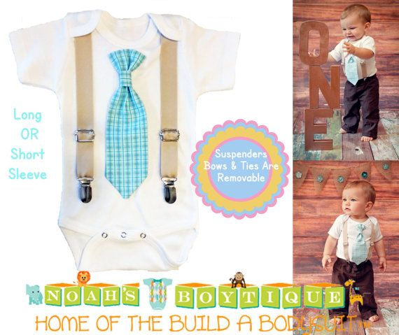355383f2b267 Baby Boy Suspender Outfit - Light Blue Plaid Tie - Tan Suspenders - Baby Boy  Clothes - Toddler - Tie Outfit - Baby Ties - Spring - Wedding by Noah's ...