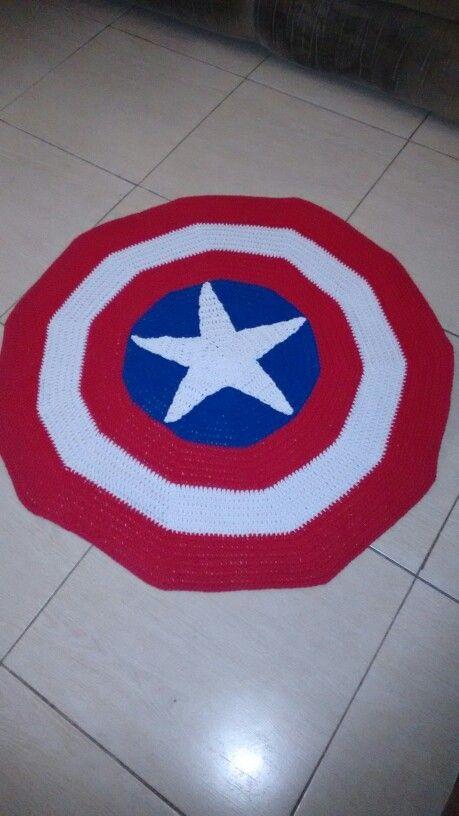 Great Tapete Em Crochê. Escudo Capitão América.