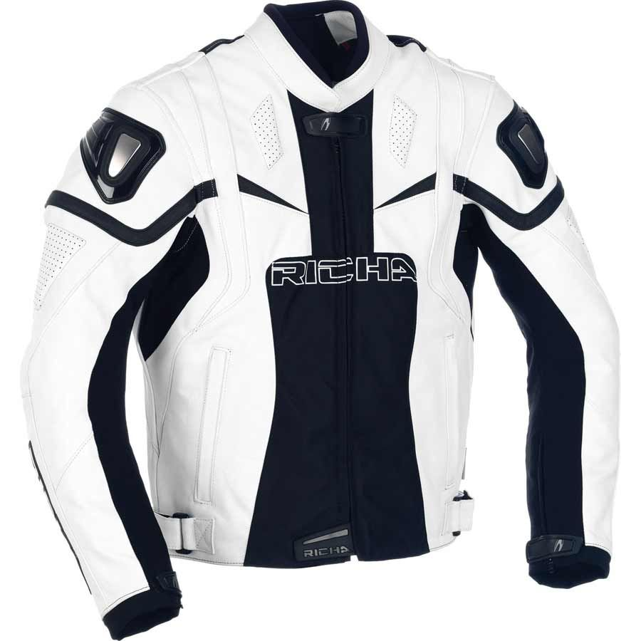 Motorcycle jacket. Like a Storm Trooper from Star Wars.