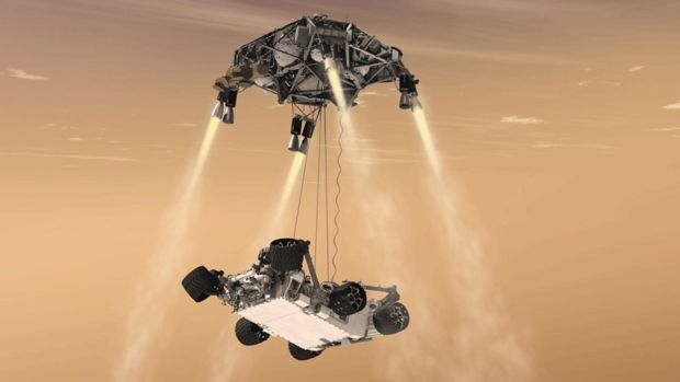 In this 2011 artist's rendering, a 'sky crane' lowers the Curiosity rover onto the surface of Mars. After travelling 8 1/2 months and about 567 million kilometres, Curiosity will attempt a landing on Mars the night of Aug. 5, 2012.