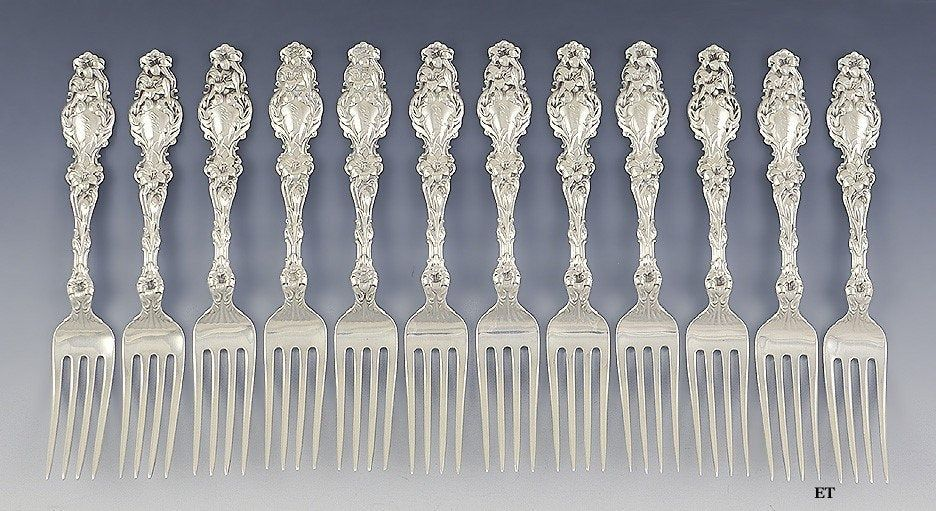 Fine set 12 whiting sterling silver lily pattern forks