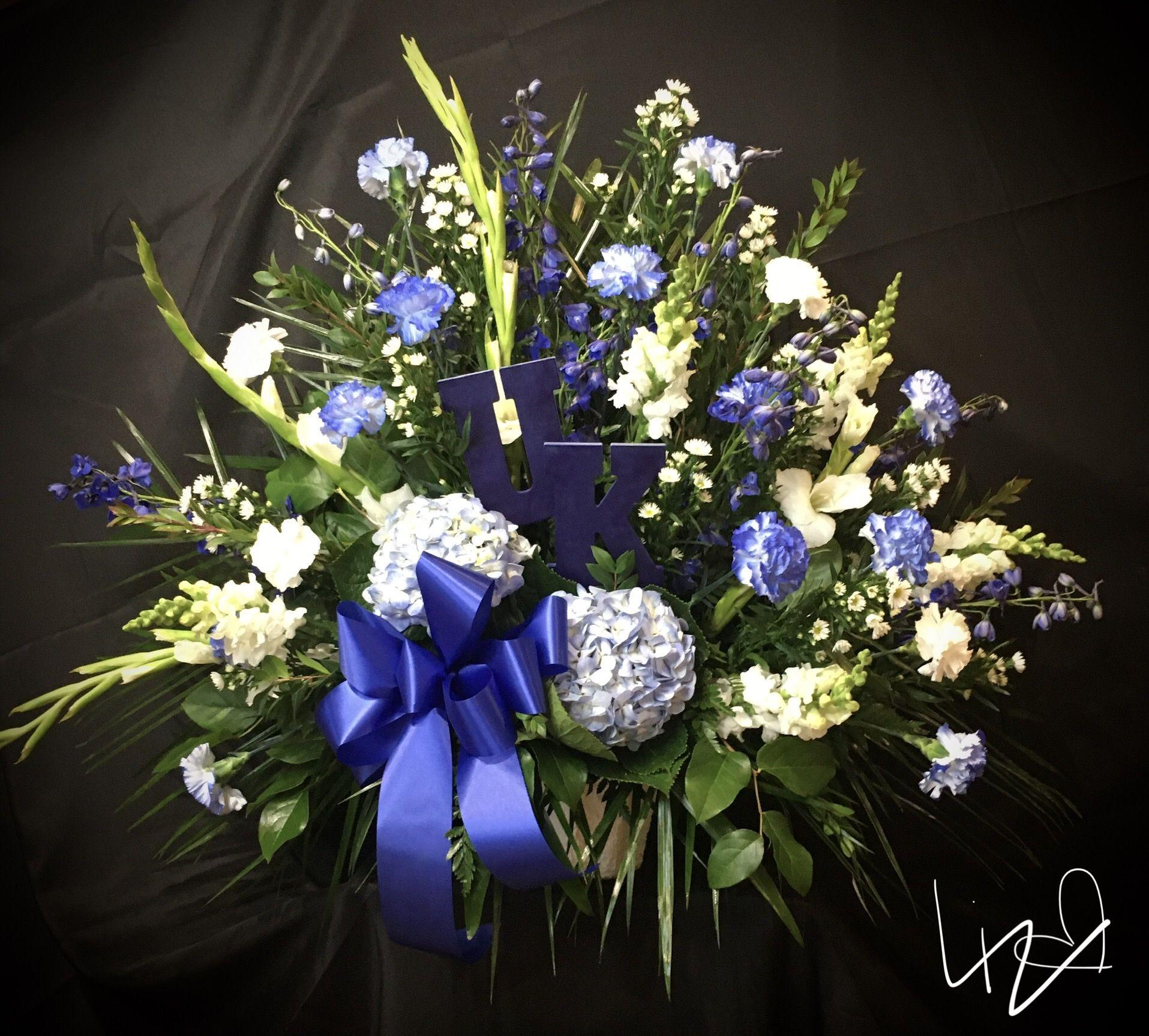Uk Blue Fan Basket In 2020 Sympathy Flowers Flower Delivery White Carnation