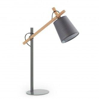 lampara de mesa jovik de metal gris - Lamparas Mesita Noche