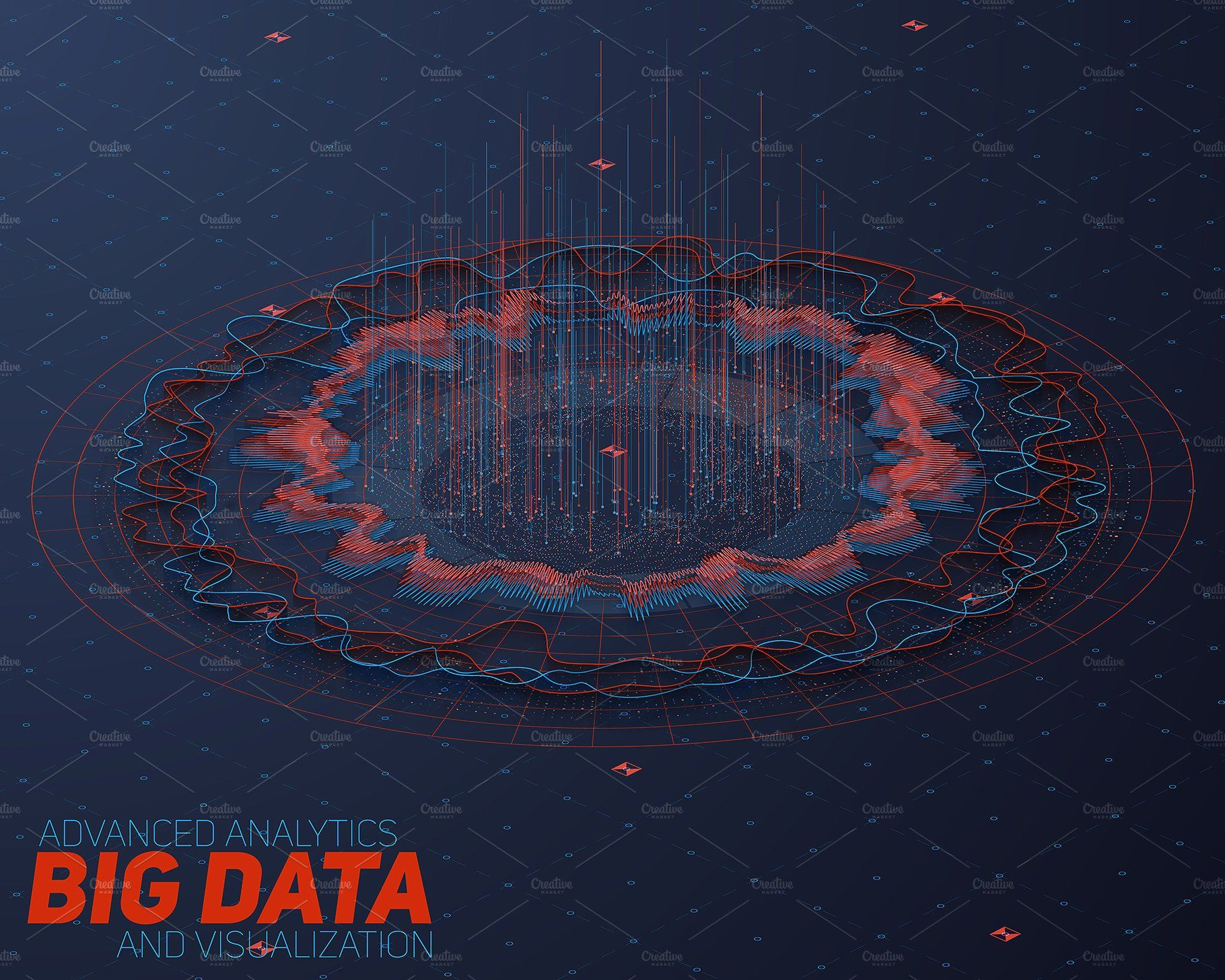 3d Big Data Backgrounds Vector Social Network Abstract Graphic