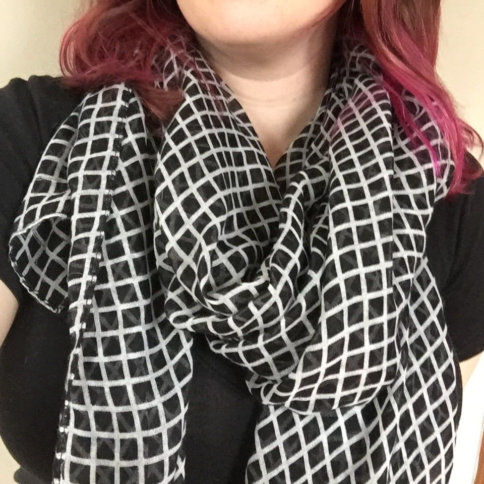 Large Black And White Scarf!