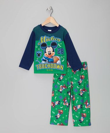 Take a look at this Green Mickey Mouse Touchdown Set - Toddler by Disney on #zulily today!