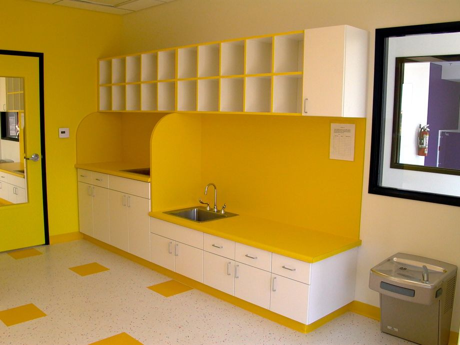 Daycare design commercial office interiors by classy for Preschool bathroom ideas