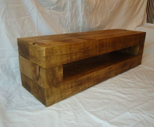 H4home Rustic Wooden Tv Stand Unit With 2 Drawers Solid Wood