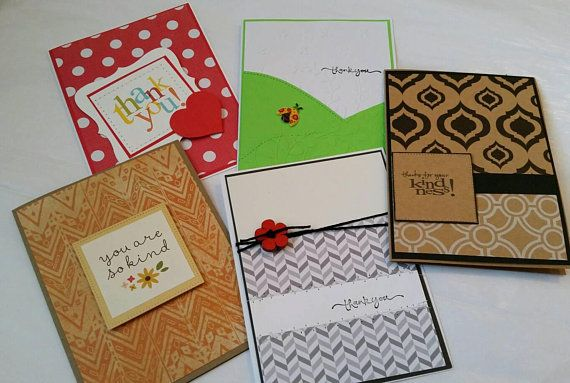 set of 5 handmade thank you cards assorted thank you cards variety