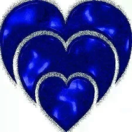 Three Blue Hearts That Are Alike Just Different Sizes