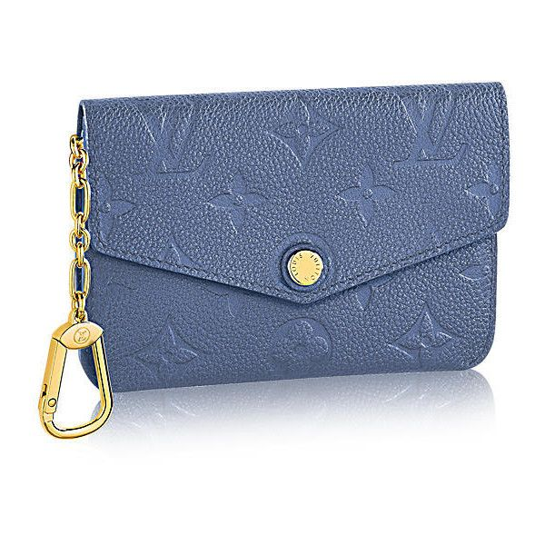 Key Pouch Monogram Empreinte Leather ($440) ❤ liked on Polyvore featuring bags, wallets, key bag, genuine leather wallet, leather key pouch, blue leather wallet and leather bags