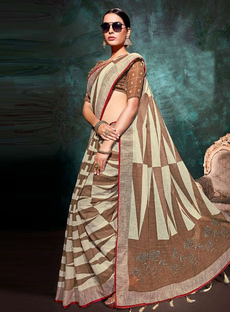 b021bdc178f7cb Buy Brown Khadi Festival Wear Saree 146718 with blouse online at lowest  price from vast collection of sarees at Indianclothstore.com.