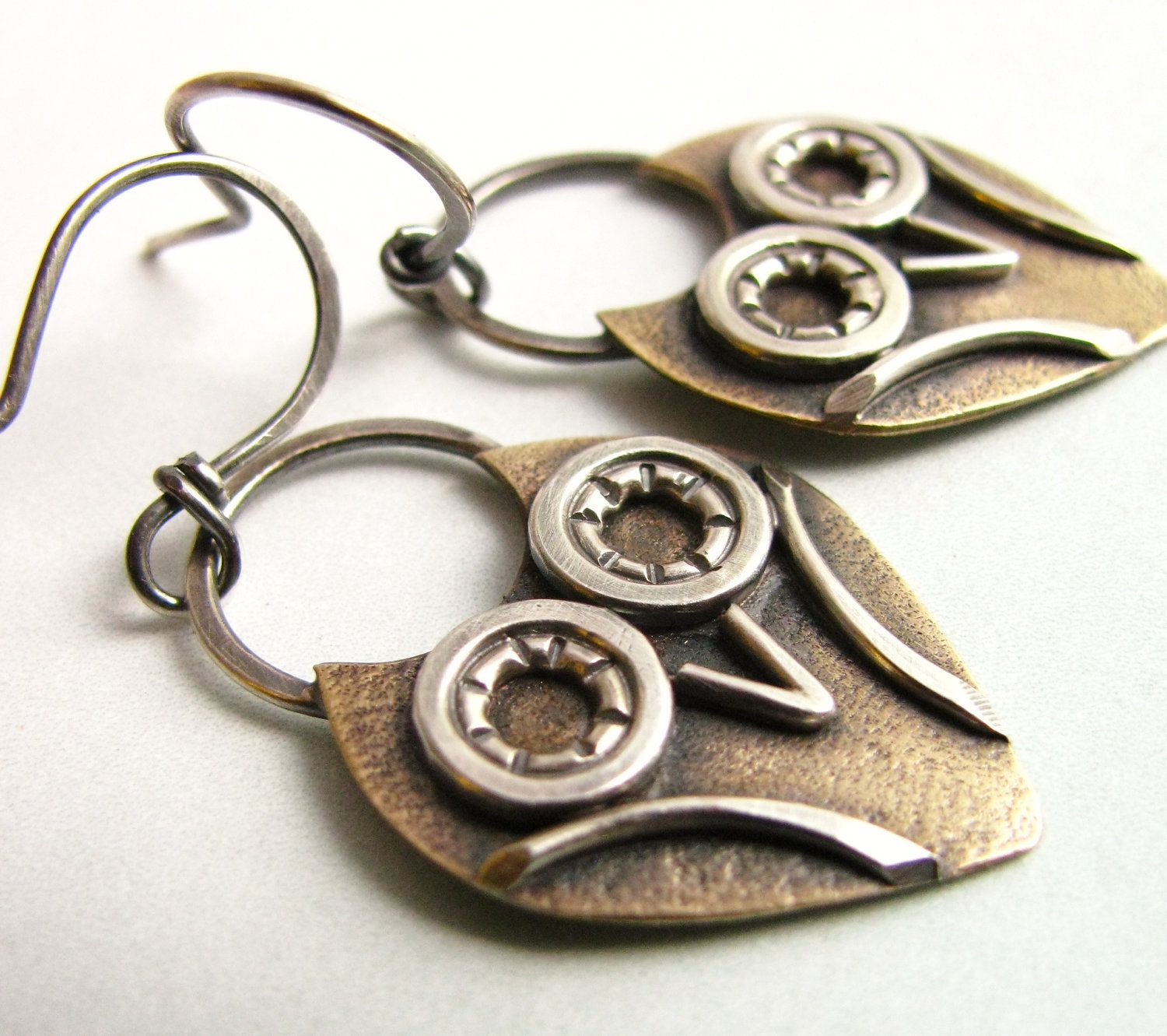 Little Owl Earrings - Bronze And Sterling Silver Artisan Metalsmith Jewelry -  Mixed Metal Owl Jewelry. $58.00, via Etsy.