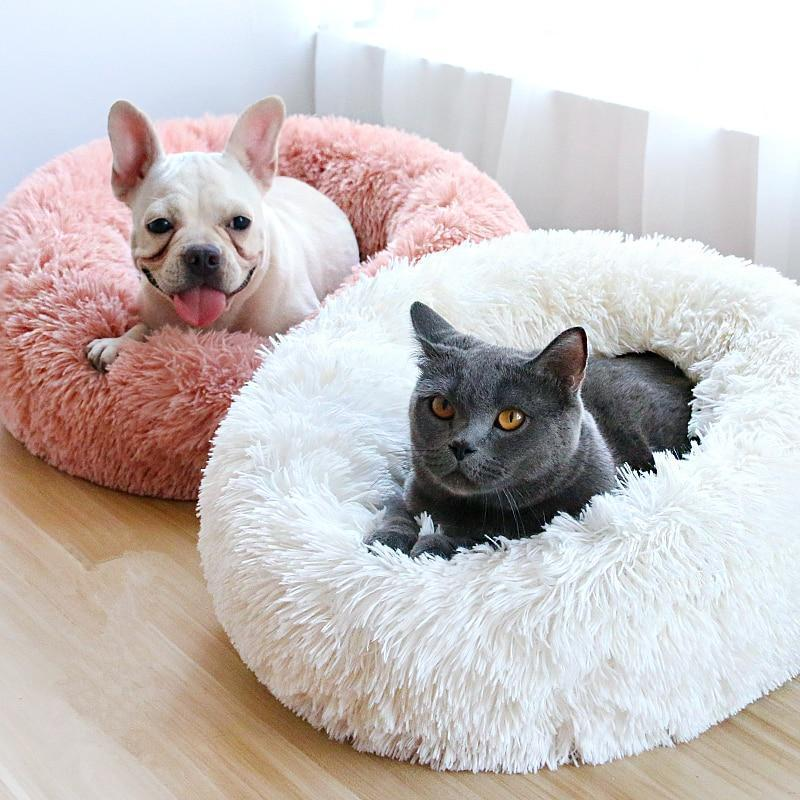 Winter Dogs Bed Soft Warm Luxury Donut Dog Bed For Small Medium Dogs Cats Bed Pet Sofa Washable Round Soft Dog Beds Cat Bed Donut Dog Bed