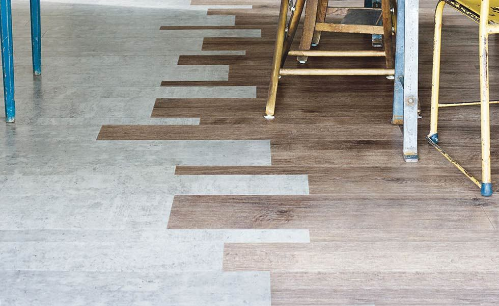Amtico signature exposed concrete and fumed oak in for Exposed concrete floor