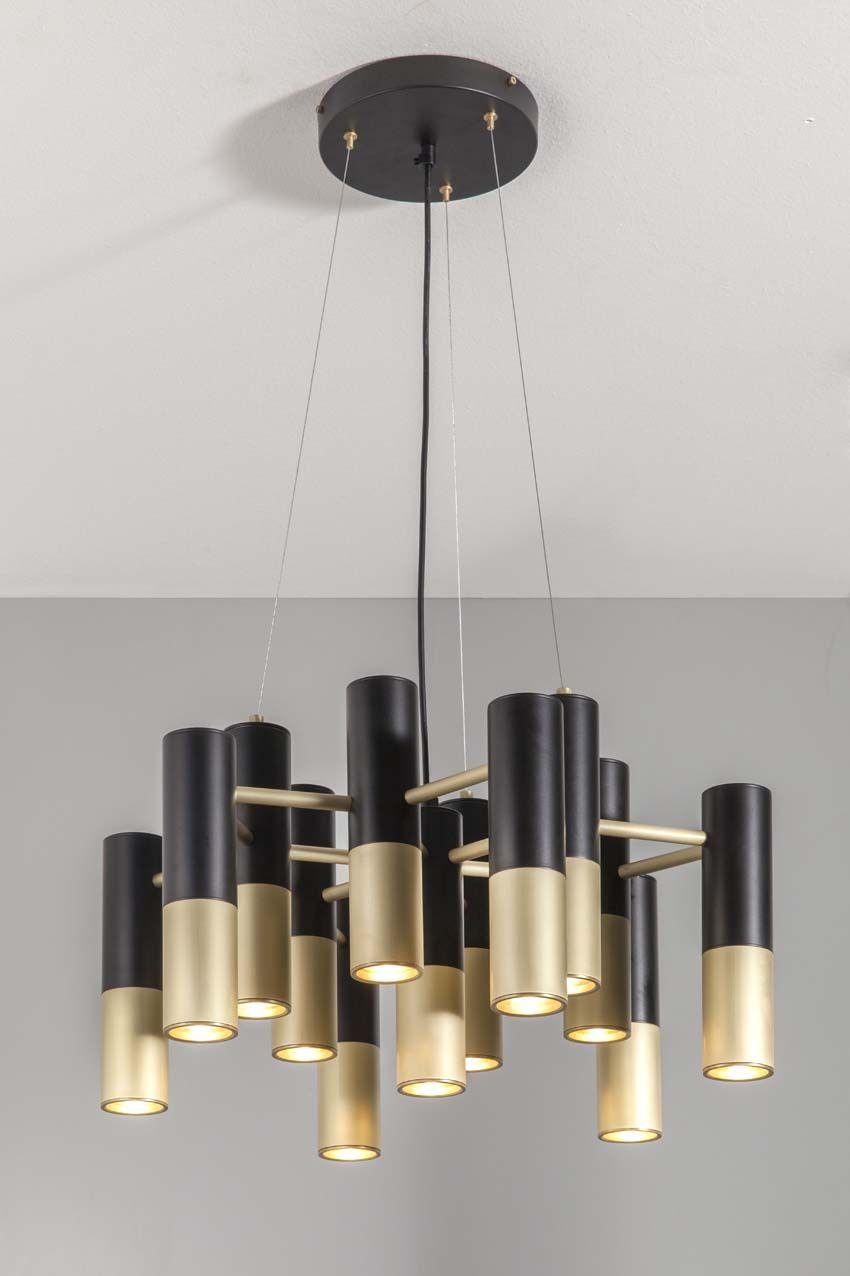 Sabeen Suspension Lamp Brushed Brass Black Matt Lacquered Pendant Light Fixtures Lamp Design Interior Lighting