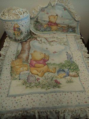 1998 Classic Winnie The Pooh Hunny Pots Crib Bedding Bumper Comforter Set Ecru Comforter Sets Bed Bumpers Crib Bedding