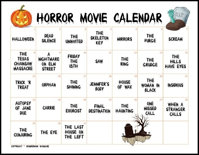 Halloween Movieoctober 2020 Calendar The Ultimate Horror Movie Calendar to Count Down to Halloween