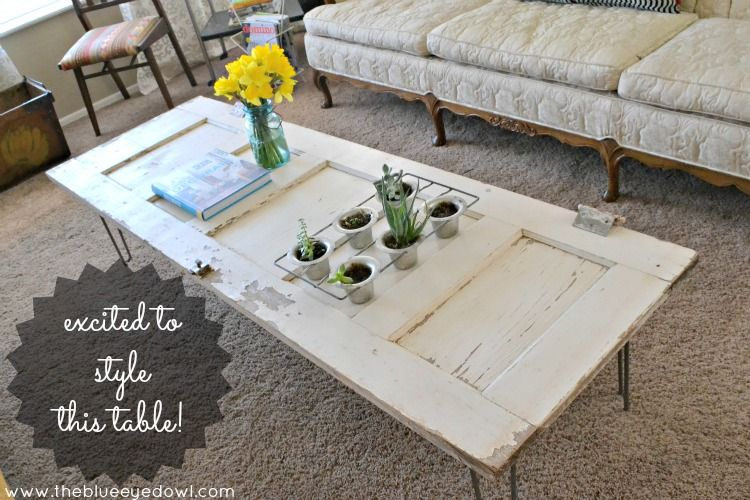 The Blue Eyed Owl Diy Vintage Door Coffee Table W Hairpin Legs