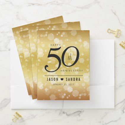 Elegant 50th Golden Wedding Anniversary Pocket Folder Anniversary Gifts Ideas Diy C 50 Golden Wedding Anniversary Wedding Gift Diy Golden Wedding Anniversary