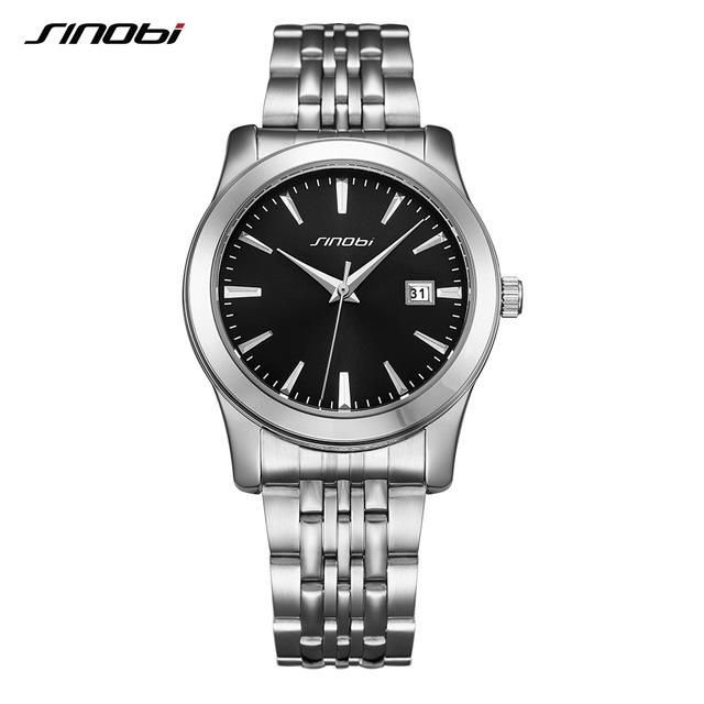 SINOBI 2017 Brand Luxury Lovers' Couple Watches Men Waterproof Business Watch Women Casual Full Steel Quartz Wristwatch Clock
