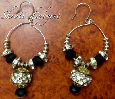 Diys do it yourself hoop earrings with black beads charms diys do it yourself hoop earrings with black beads charms solutioingenieria Choice Image