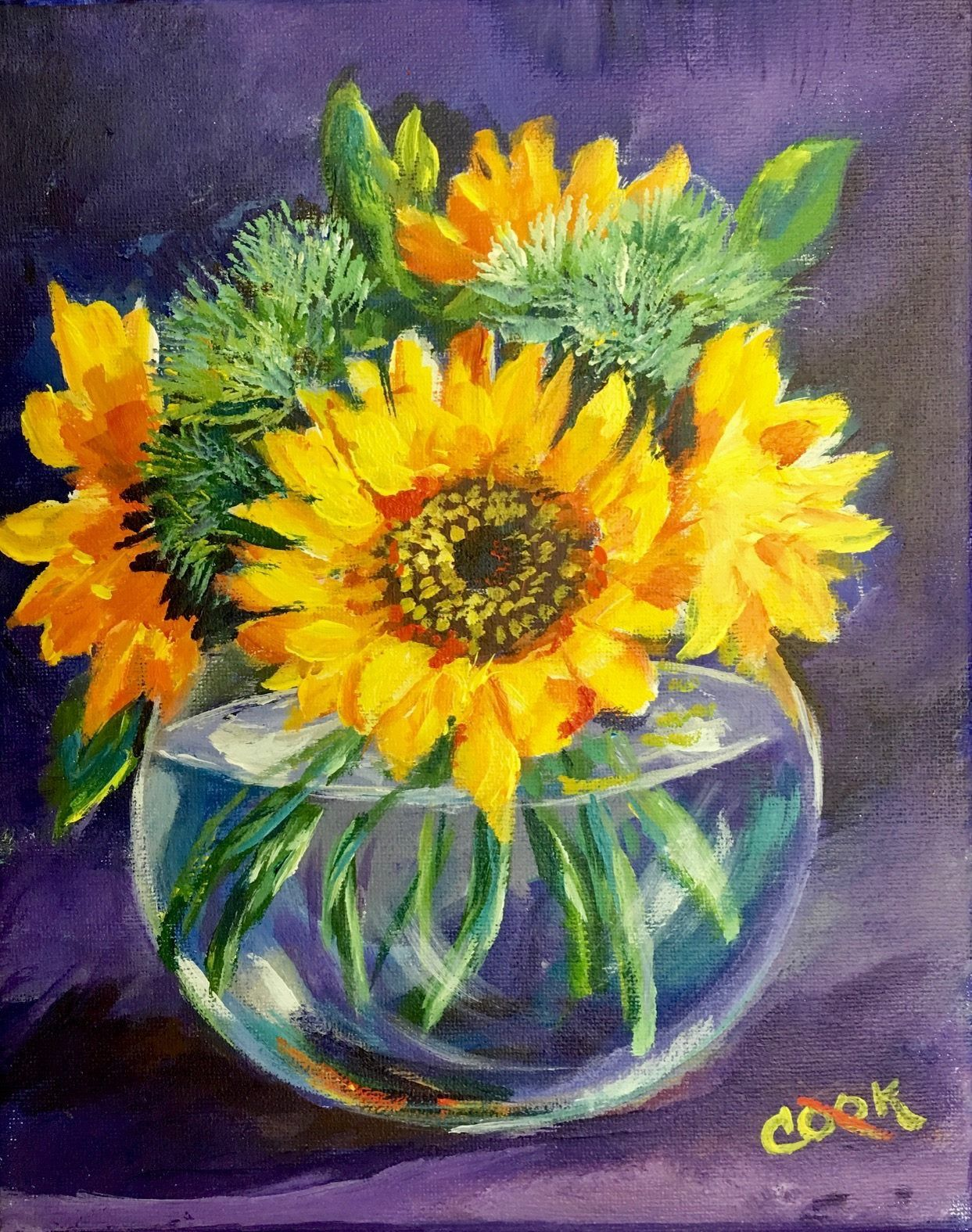 Ginger Cook 8 X 10 Painting Sunflowers In A Transparent Vase