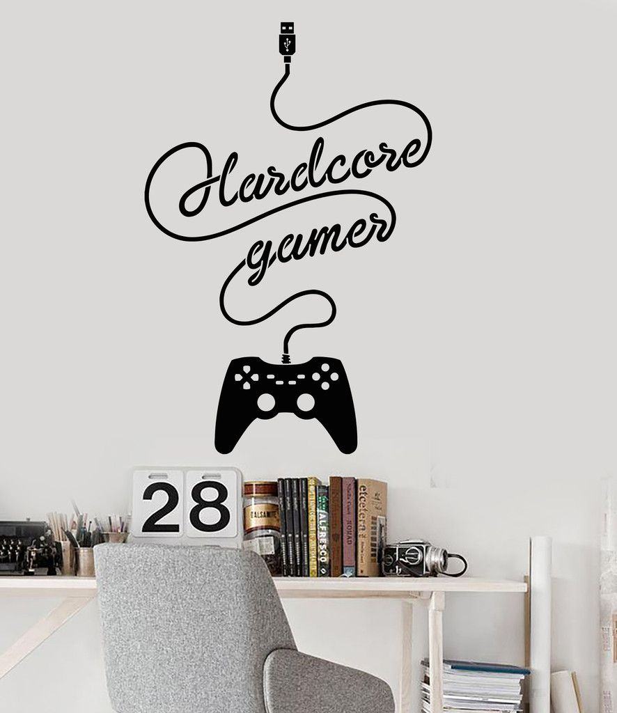 joystick gamer vinyl wall decal quote video game play room esports vinyl wall decal gamer joystick video game children s room stickers ig3323