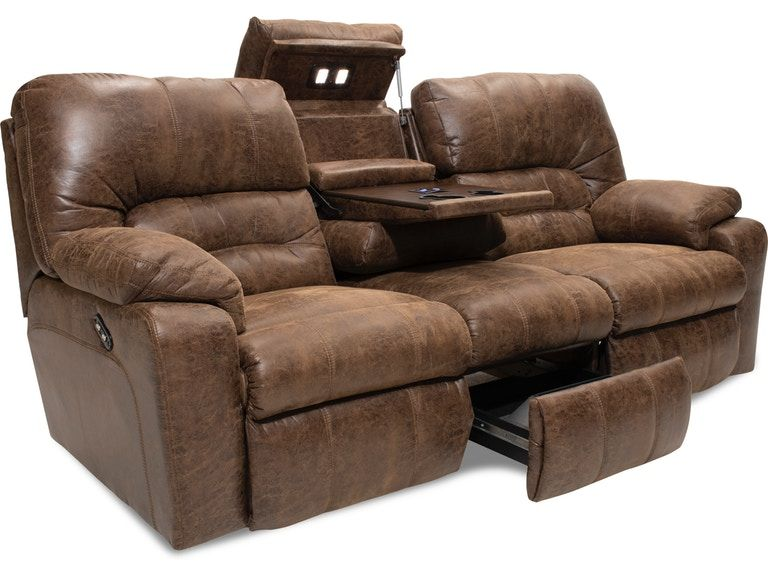 Duke Power Sectional Power Reclining Loveseat Drop Down Table