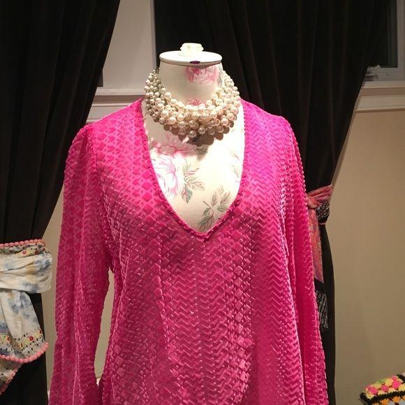 Gorgeous fuchsia top Burnout velvet material. Semi sheer. Long sleeves.  Never worn. Eight Sixty Tops Blouses
