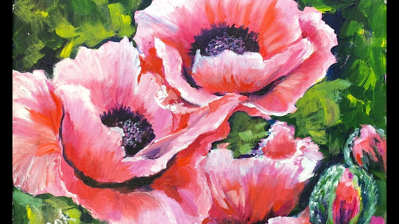 Blushing poppies a step by step acrylic tutorial with for Step by step acrylic painting flowers for beginners
