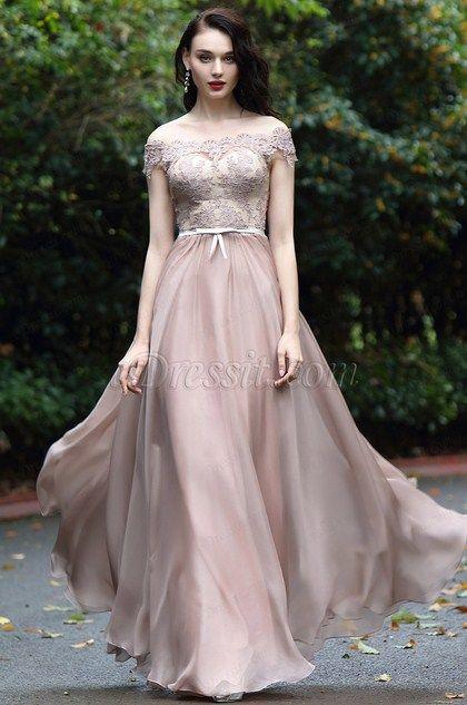 d95b4187fb5b Blush Off Shoulder Lace Prom Dress (02171946) in 2019 | Beautiful ...