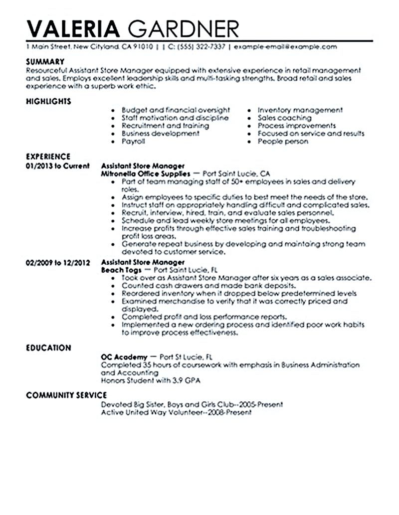 Retail Manager Resume Retail Manager Resume Is Made For Those